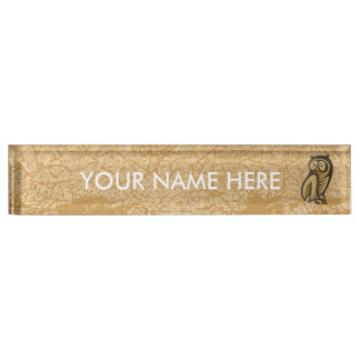 Owl Symbol Color Name Plate
