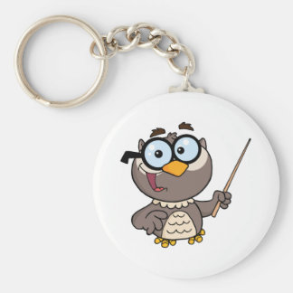 Owl Teacher Cartoon Character With A Pointer Basic Round Button Key Ring