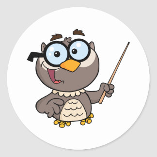 Owl Teacher Cartoon Character With A Pointer Round Stickers