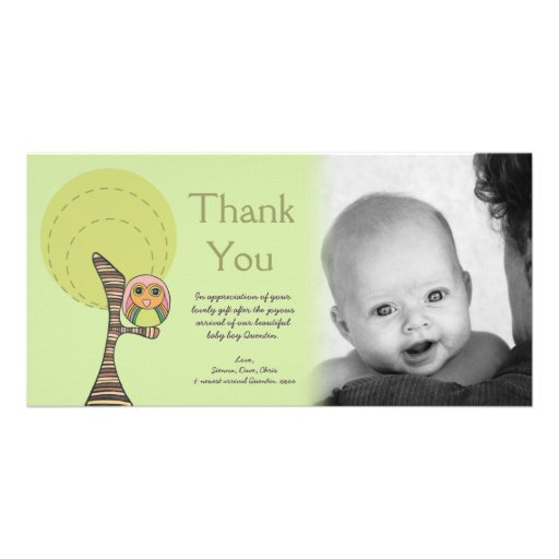 Owl Thank You New Baby Arrival Gift Photocard Photo Card Template