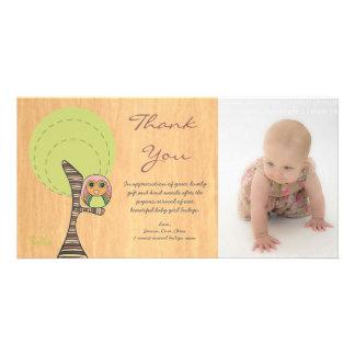 Owl Thank You New Baby Girl Arrival Gift Photocard Custom Photo Card