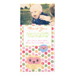 Owl Thank You Note Baby Girl Photo Template Customised Photo Card