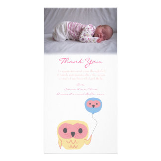 Owl Thank You Note Baby Girl Photo Template Photo Card