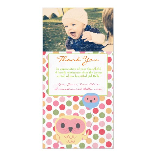 Owl Thank You Note Baby Girl Photo Template Photo Card Template