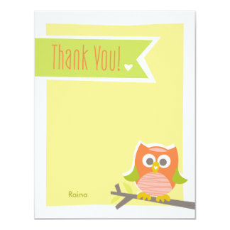 Owl Thank You Note Card 11 Cm X 14 Cm Invitation Card