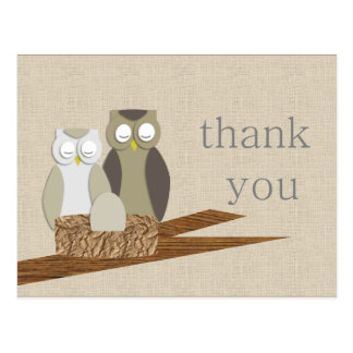Owl Thank You Postcard