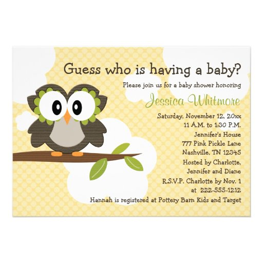 Owl Themed Baby Shower Invites Invitations Yellow