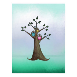 Owl Tree Art Postcard