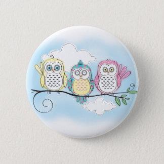Owl Trio 6 Cm Round Badge