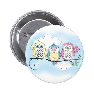 Owl Trio Pinback Buttons