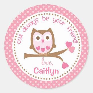 Owl Valentine Stickers Pink Always be your friend