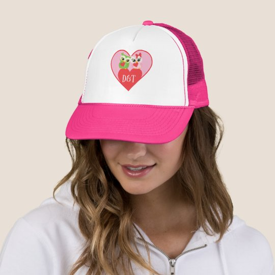Owl Valentine Sweetheart Couple Trucker Hat
