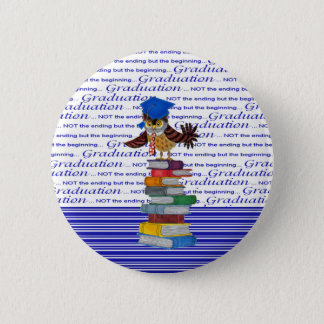 Owl Wearing Tie and Grad Cap on Top of Books, Grad 6 Cm Round Badge