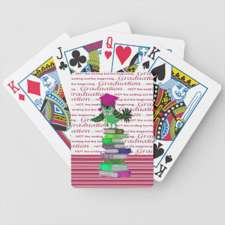 Owl Wearing Tie and Grad Cap on Top of Books, Grad Bicycle Playing Cards