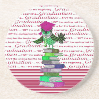 Owl Wearing Tie and Grad Cap on Top of Books, Grad Coaster