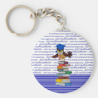 Owl Wearing Tie and Grad Cap on Top of Books, Grad Key Ring