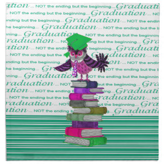 Owl Wearing Tie and Grad Cap on Top of Books, Grad Napkin