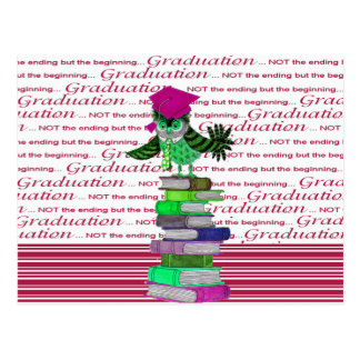 Owl Wearing Tie and Grad Cap on Top of Books, Grad Postcard