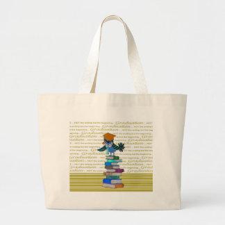 Owl Wearing Tie, Grad Cap on Top of Books, Grad Large Tote Bag