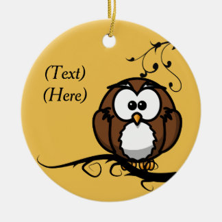 Owl Whooo Double-Sided Ceramic Round Christmas Ornament