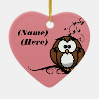 Owl Whooo Double-Sided Heart Ceramic Christmas Ornament