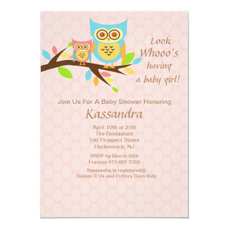 Owl Who's Having a Baby Girl babyShower Invitation