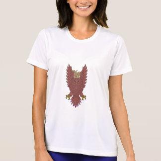 Owl Wings Spread Swooping Clock Gears Drawing T-Shirt