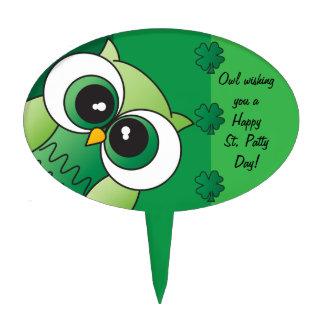 Owl Wishing you a Happy St. Patty's Day Cake Pick