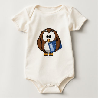 Owl with Calculator, math, student, accounting, Baby Bodysuit