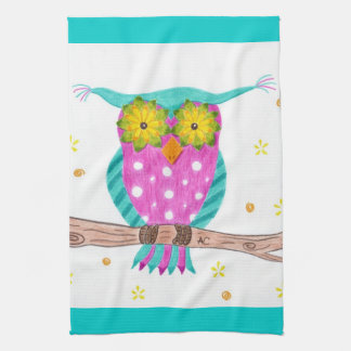 Owl with flowery eyes kitchen towel