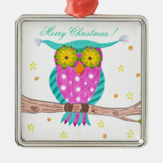 Owl with flowery eyes premium teacher ornament