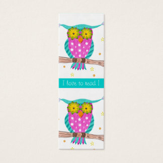 Owl with flowery eyes tiny bookmarks mini business card
