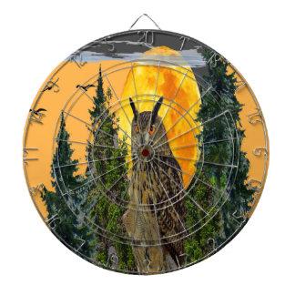 OWL WITH FULL MOON & PINE TREES DARTBOARD