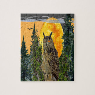 OWL WITH FULL MOON & PINE TREES JIGSAW PUZZLE