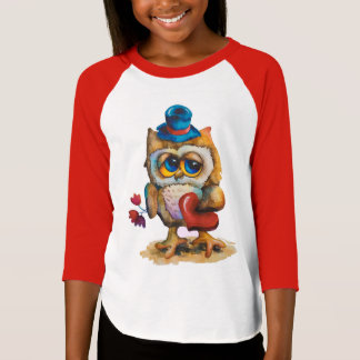 Owl with heart Girl's T-shirt