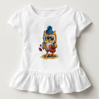 Owl with heart Toddler Ruffle Tee