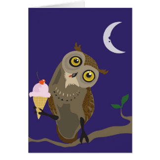 Owl with IceCream Greeting Card