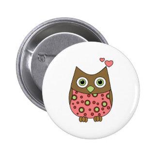 Owl WIth Love 6 Cm Round Badge