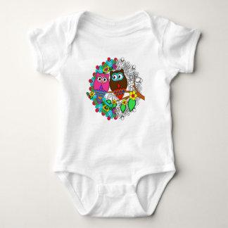 Owl with Mandalas floral Design, Baby bodysuit