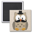 Owl with Moustache and Hat Magnet