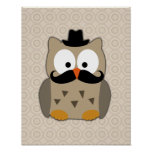 Owl with Moustache and Hat Posters