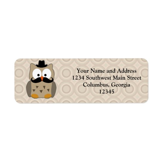 Owl with Moustache and Hat Return Address Label