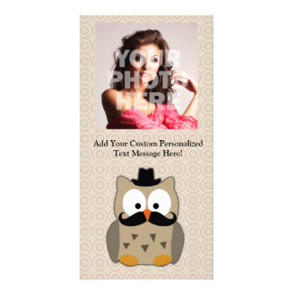 Owl with Mustache and Hat Custom Photo Card