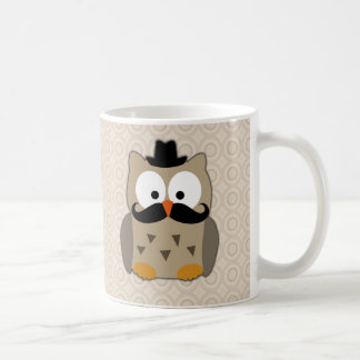 Owl with Mustache and Hat Coffee Mug