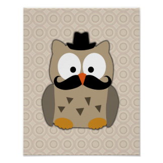 Owl with Mustache and Hat Poster