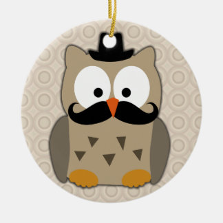 Owl with Mustache and Hat Round Ceramic Decoration