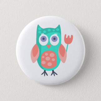 Owl With Party Attributes Girly Stylized Funky 6 Cm Round Badge