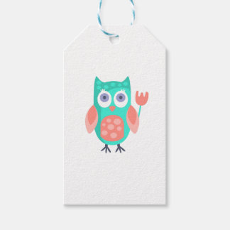 Owl With Party Attributes Girly Stylized Funky Gift Tags