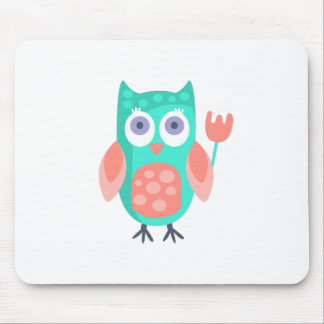 Owl With Party Attributes Girly Stylized Funky Mouse Pad
