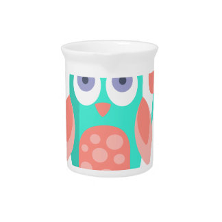 Owl With Party Attributes Girly Stylized Funky Pitcher